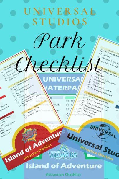 Universal Studios Park Checklists