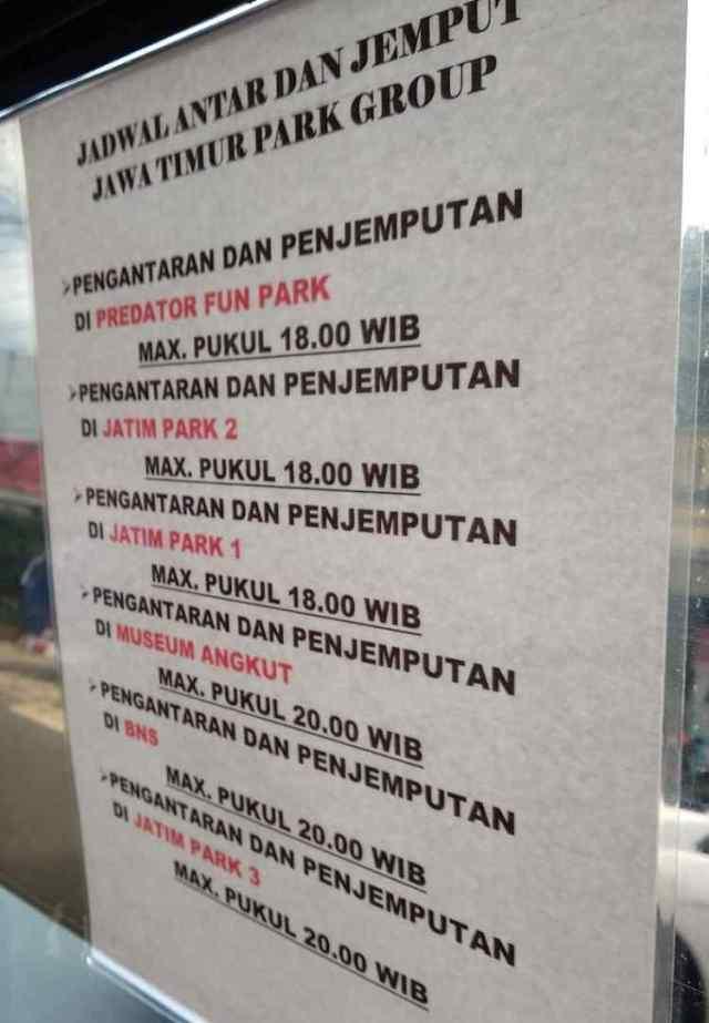 Jadwal Shuttle gratis Jatim Park