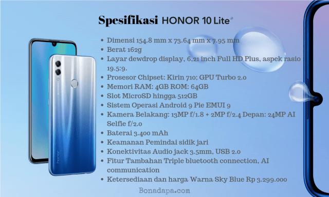 spesifikasi smartphone murah honor 10 lite