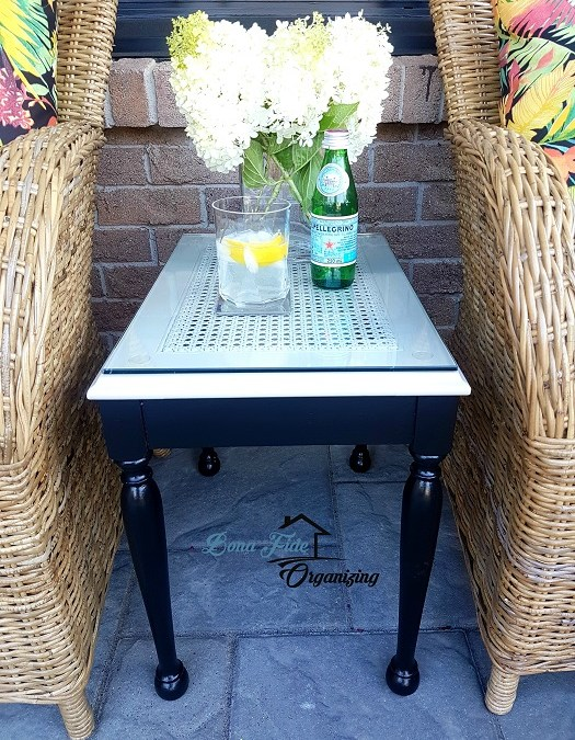 Painted Caned Side Table