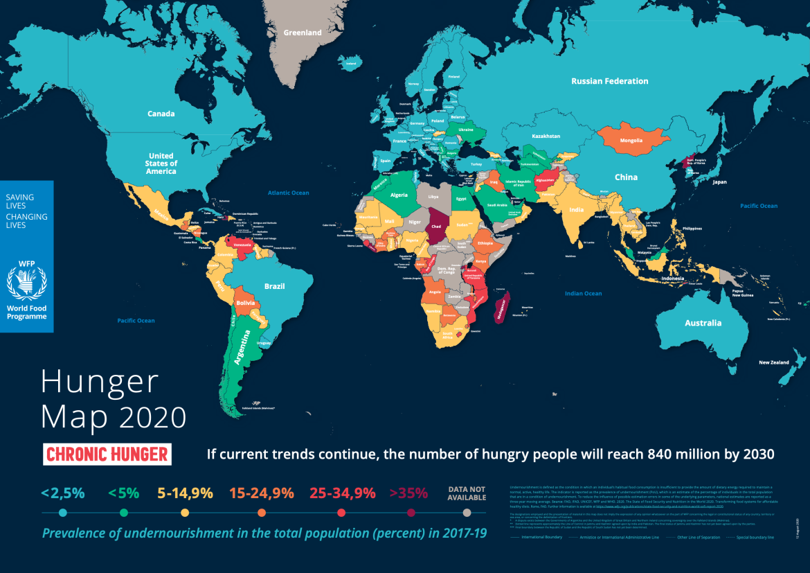 This map is snapshot of undernourishment in the population of each country