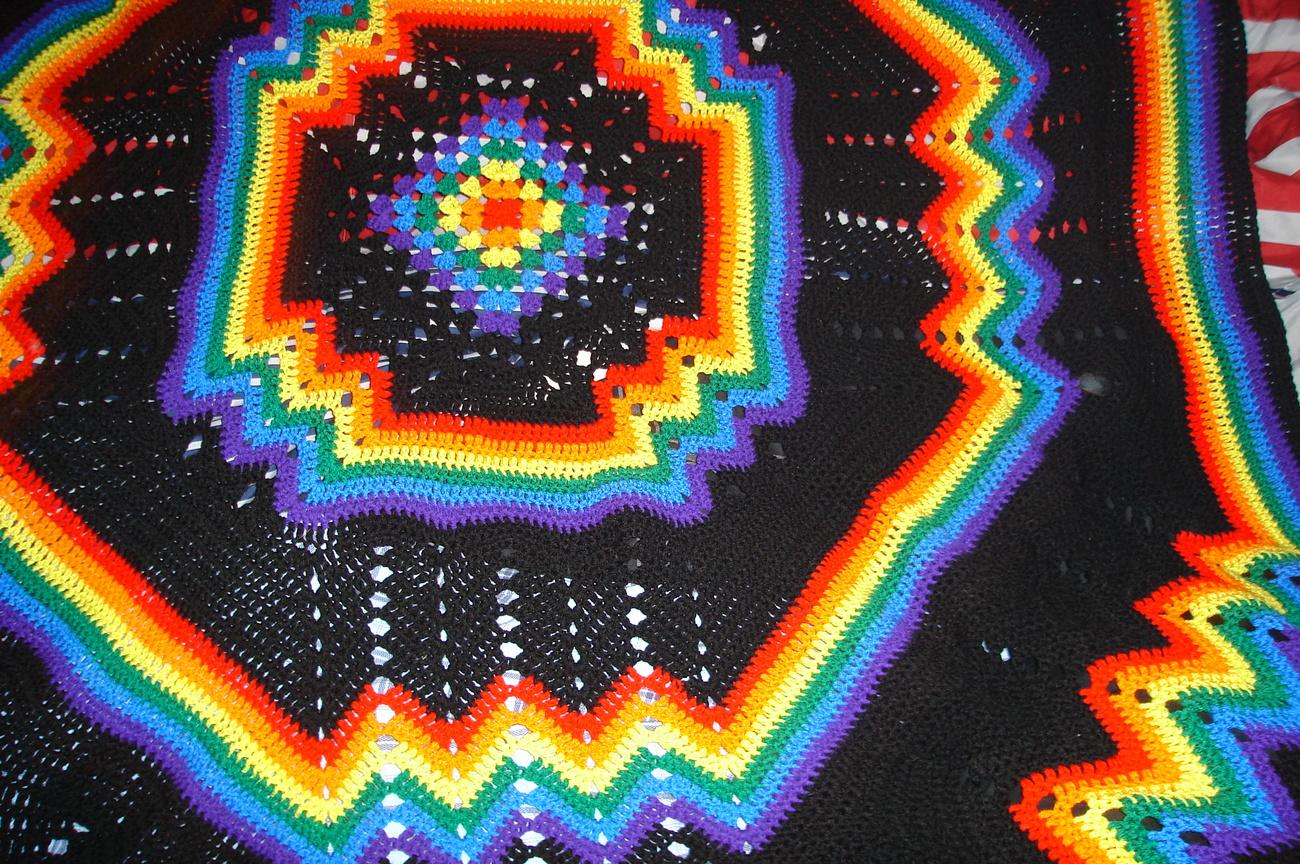 Crocheted King Size Afghan Bedspread Multi Pink Black
