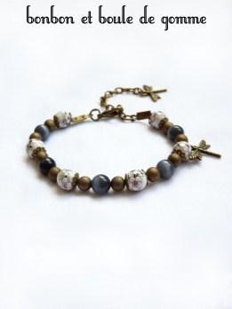 """Bracelet perles porcelaines """"la libellule"""""""