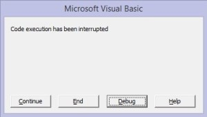 code execution has been interrupted window