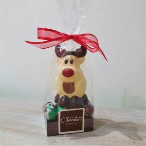Small White Chocolate Reindeer with Foiled Puddings