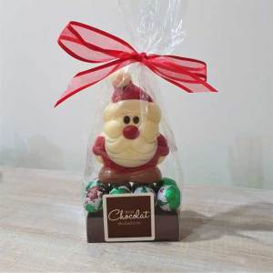 Small White Chocolate Santa with Foiled Puddings