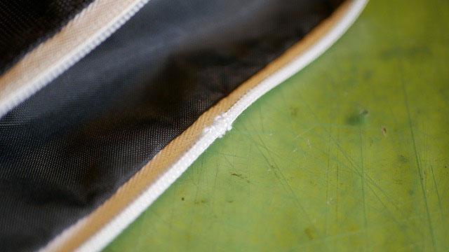 (BEAMS GOLF)ビームスゴルフ/キャディバッグのフードファスナーレール破損