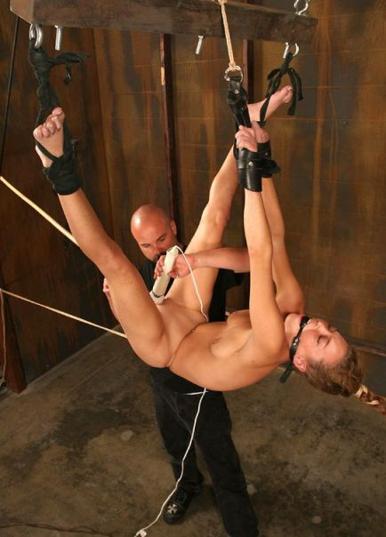 Awesome Young Slave Suspended, Ball Gagged and Tortured in the Dungeon