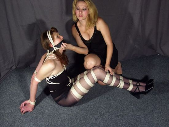 Beautiful Redhead Gets Blindfolded, Gagged and Bound by Her Mistress