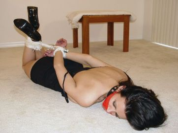 Beautiful Young Brunette Gets Collared, Tape Gagged and Tightly Bound