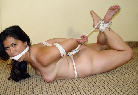 Curvy Amateur Brunette Gets Hogtied, Gagged and Dominated in Basement