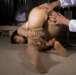 Cute Asian Slave in Stockings Gets Tightly Bound and Humiliated Hard