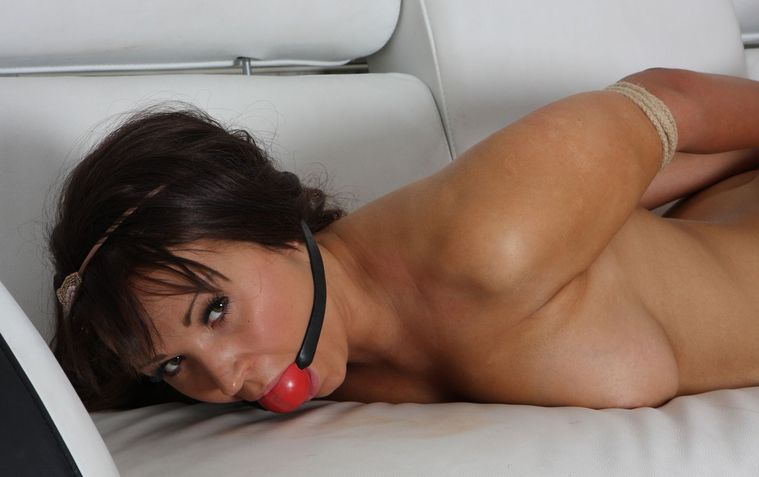 Cute Brunette Girlfriend Ball Gagged and Tightly Bound at Home for Fun