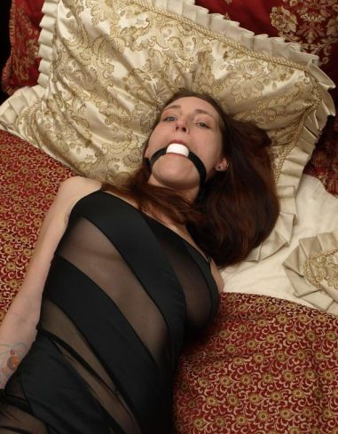 Cute Girlfriend Bound, Blindfolded and Ball Gagged in Hotel Room