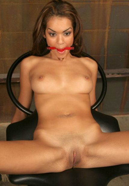 Gorgeous Ebony Slave Restrained, Gagged and Penetrated in the Dungeon