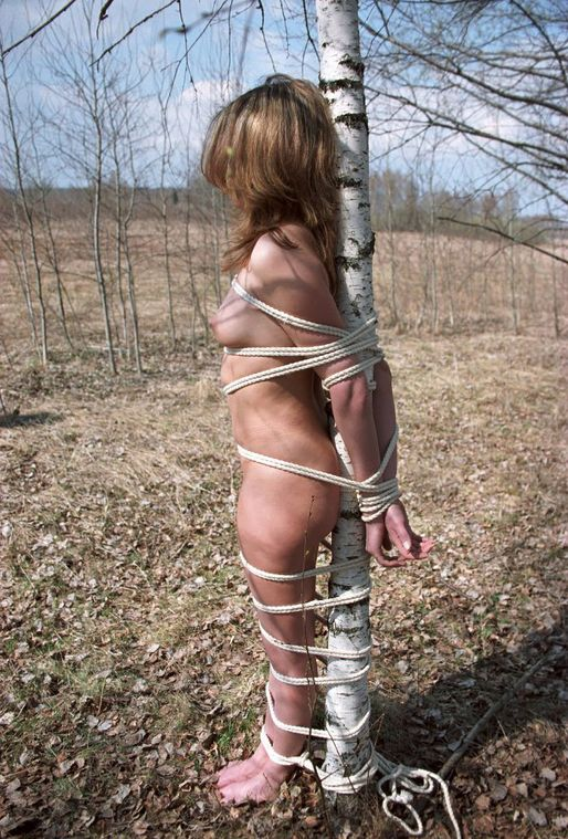 Gorgeous Young Girlfriend Gets Bound and Tape Gagged Outside for Fun