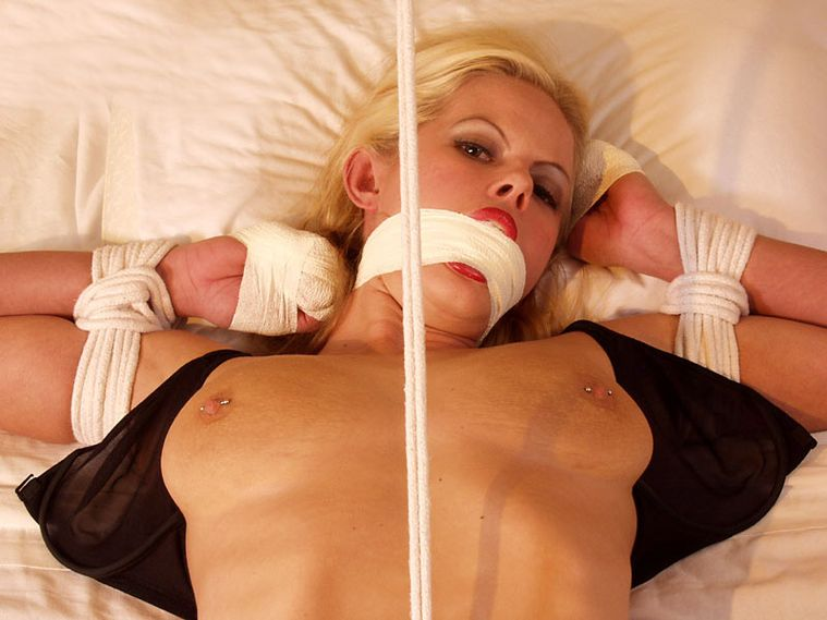 Hot Blonde in Lingerie Gets Stripped, Gagged and Bound in a Hotel Room