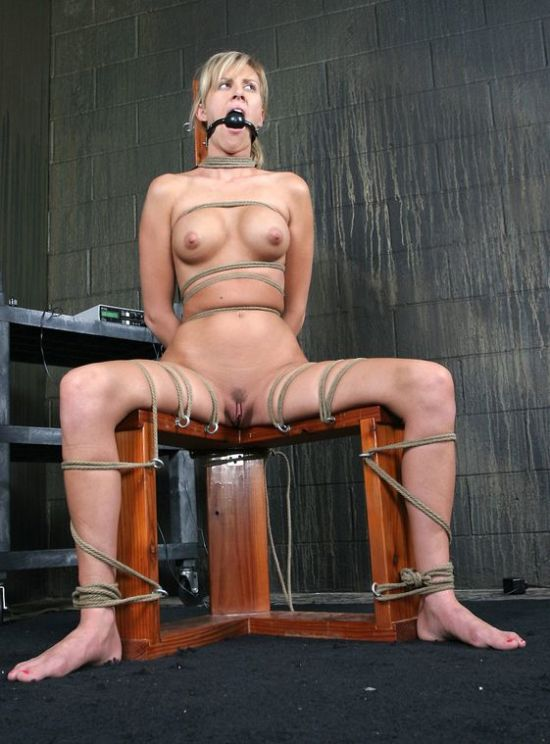 Hot Blonde Tightly Bound, Gagged and Humiliated Hard in the Dungeon