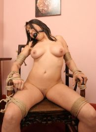Hot Young Brunette Bound, Gagged and Stripped for Punishment
