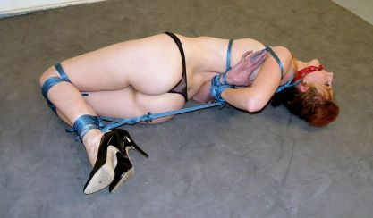 Kendra James in Thong and High Heels Hogtied and Cleave Gagged