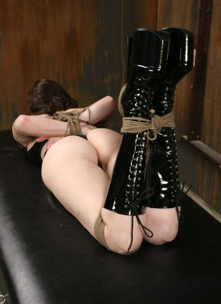 Kinky Brunette Slave Tightly Bound, Gagged and Spanked in the Dungeon