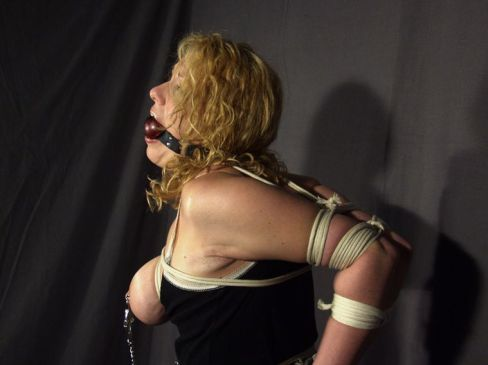 Pretty Blond Slave Ball Gagged, Tightly Bound and Disciplined for Fun