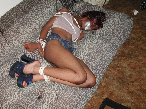 Pretty Ebony Amateur Gets Tightly Bound and Tape Gagged for Punishment