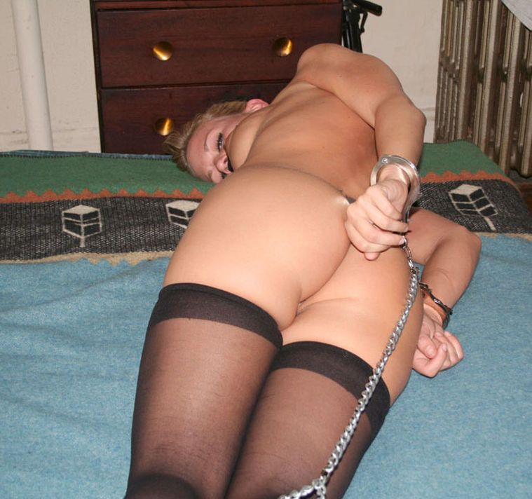 Sexy Blond Amateur Gets Stripped, Handcuffed and Gagged for Training