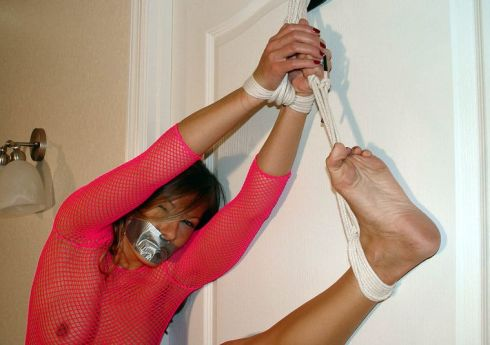 Sexy Blonde Gets Bound, Tape Gagged and Disciplined for Training