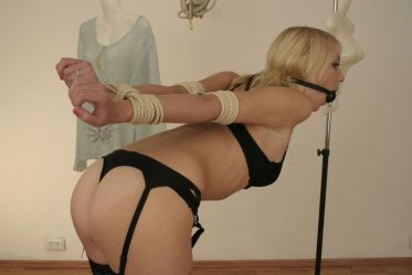 Sexy Blonde in Lingerie Collared, Tightly Bound and Ball Gagged