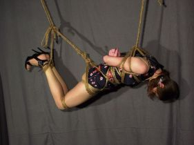 Sexy Brunette Amateur Gets Gagged, Bound and Suspended for Punishment