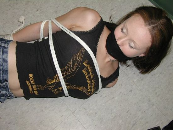 Sexy Brunette Girlfriend Bound and Tape Gagged at Home for Discipline