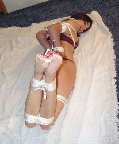 Sexy Girlfriend in Lingerie Tightly Bound, Hogtied and Disciplined