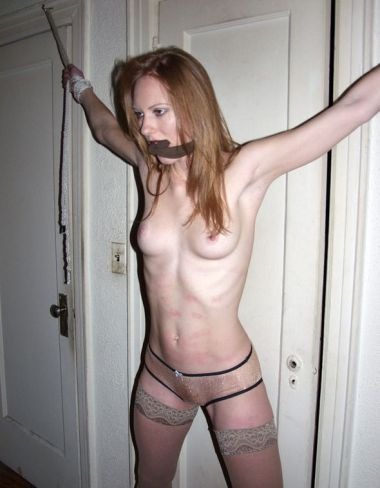 Sexy Redhead Girlfriend Stripped, Restrained and Whipped for Training
