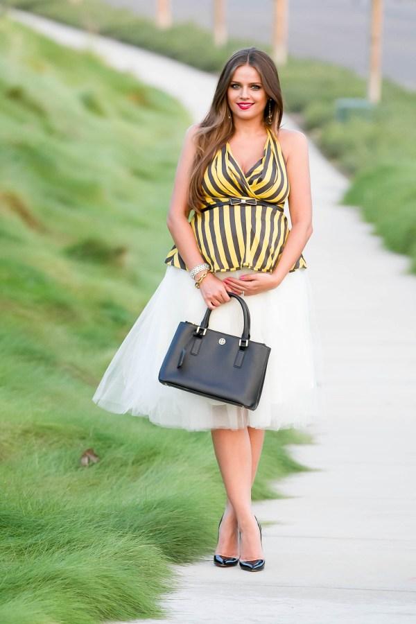 #BumpStyle // Tulle Skirt & Striped Halter Top | BondGirlGlam.com