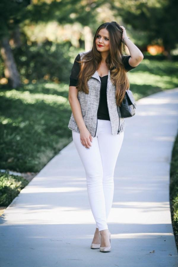 #OOTD // Tweed Moto Vest & White Skinny Jeans | BondGirlGlam.com