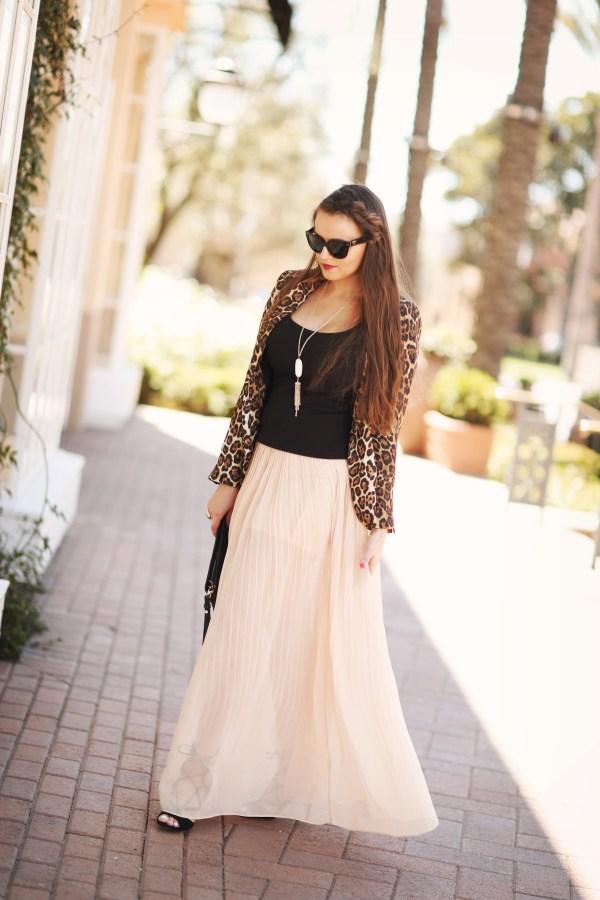 #OOTD // Leopard Blazer & Chiffon Skirt | BondGirlGlam.com