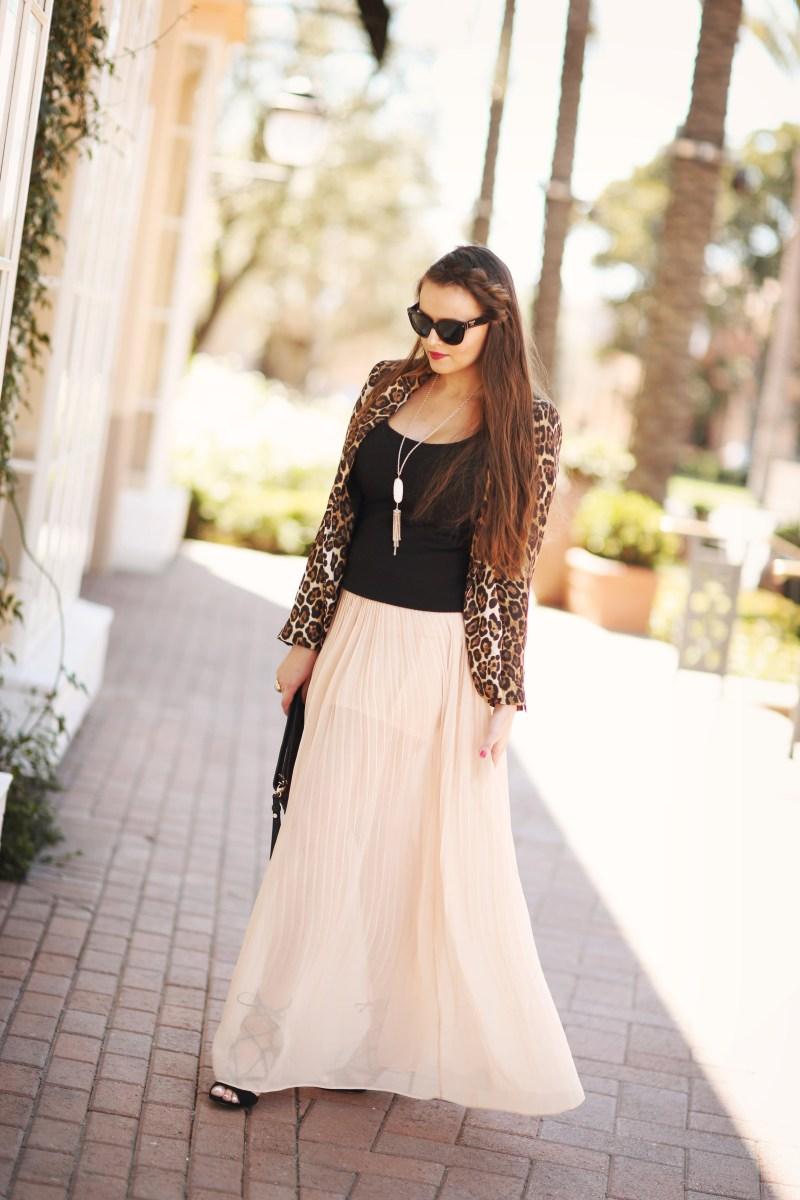 #OOTD // Leopard Blazer & Chiffon Skirt