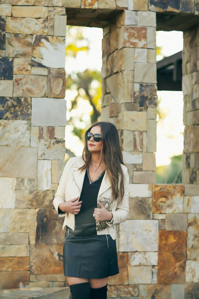 #OOTD // Cream Leather Jacket, Beaded V-Neck Top & Miniskirt | BondGirlGlam.com