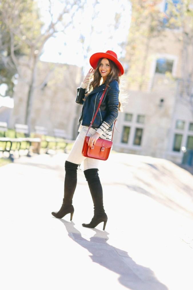 #OOTD // Moto Jacket, Striped Top, & Pops of Red | BondGirlGlam.com