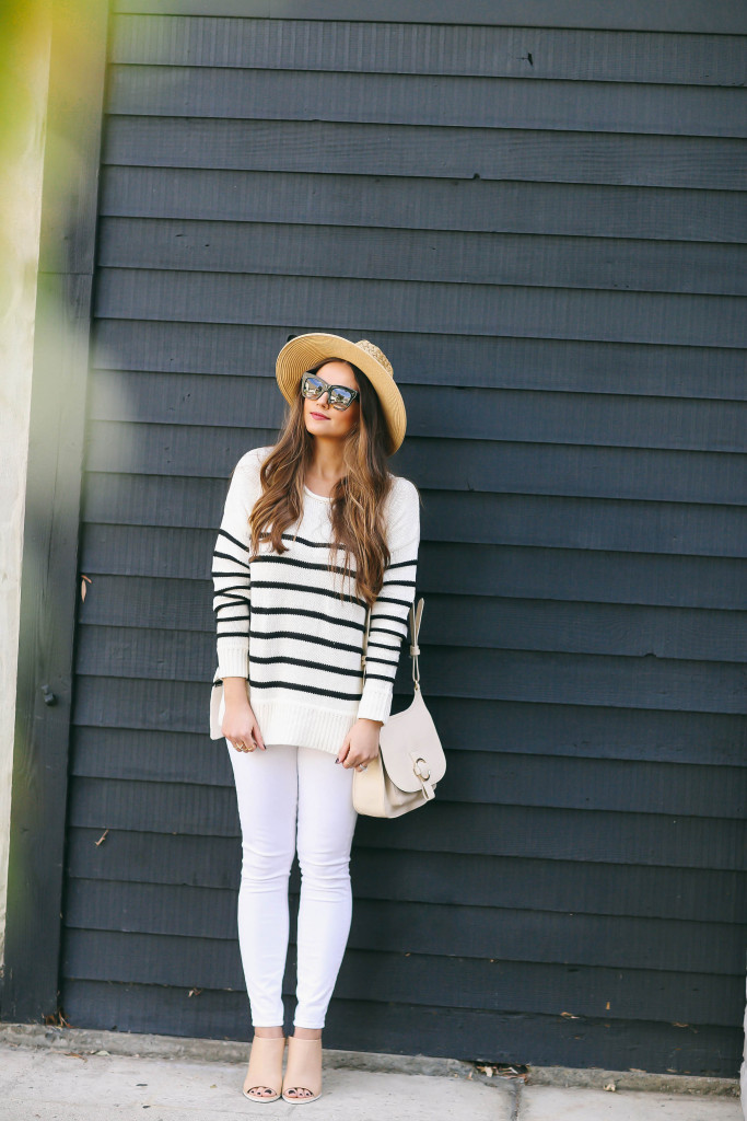 #OOTD // Striped Sweater & White Skinny Jeans   BondGirlGlam.com