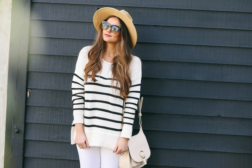 #OOTD // Striped Sweater & White Skinny Jeans | BondGirlGlam.com