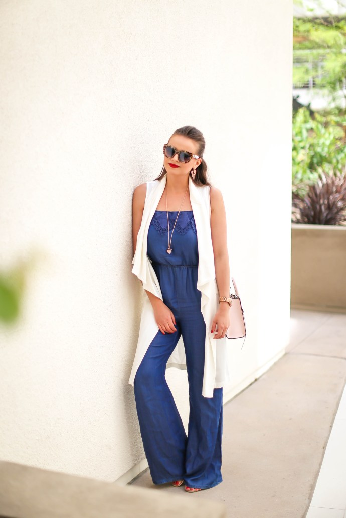 #OOTD // Chambray Jumpsuit & White Duster Vest | BondGirlGlam.com