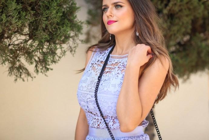 #OOTD // Light Blue Lace Mini Dress | BondGirlGlam.com