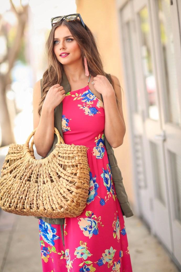 #OOTD // Pink Floral Print Maxi Dress | BondGirlGlam.com