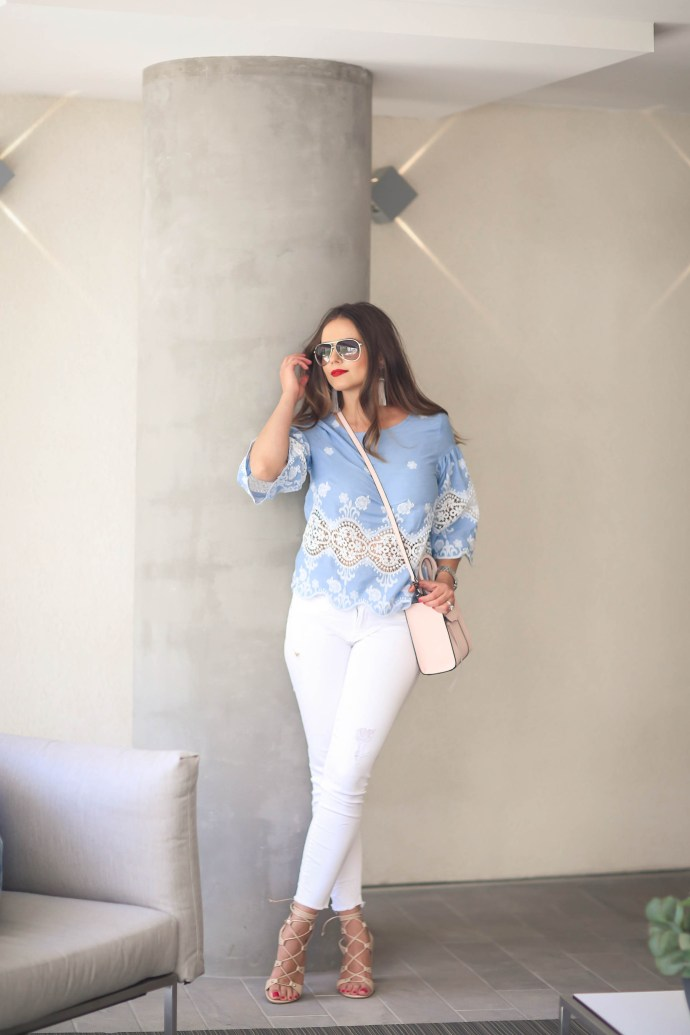 #OOTD // Blue Lace Top & White Frayed Jeans | BondGirlGlam.com