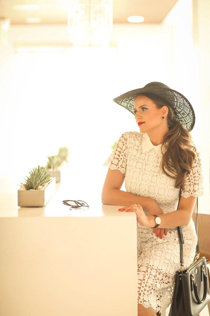 #OOTD // Black Floppy Hat, White Lace Dress, & Jeweled Flats | BondGirlGlam.com