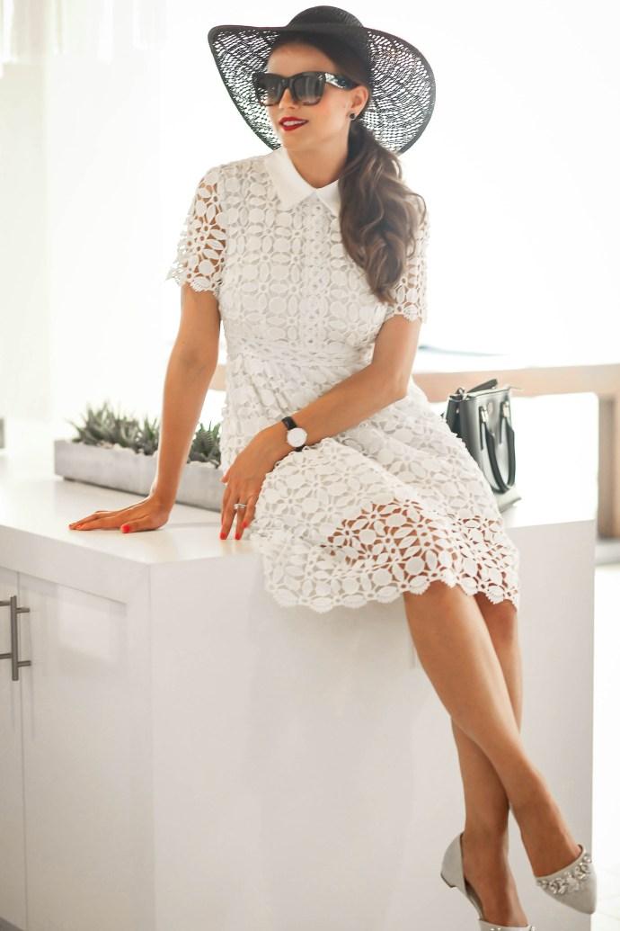 #OOTD // Black Floppy Hat, White Lace Dress, & Jeweled Flats   BondGirlGlam.com