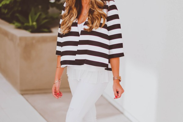 #OOTD // Striped Swing Jacket & White Skinnies | BondGirlGlam.com