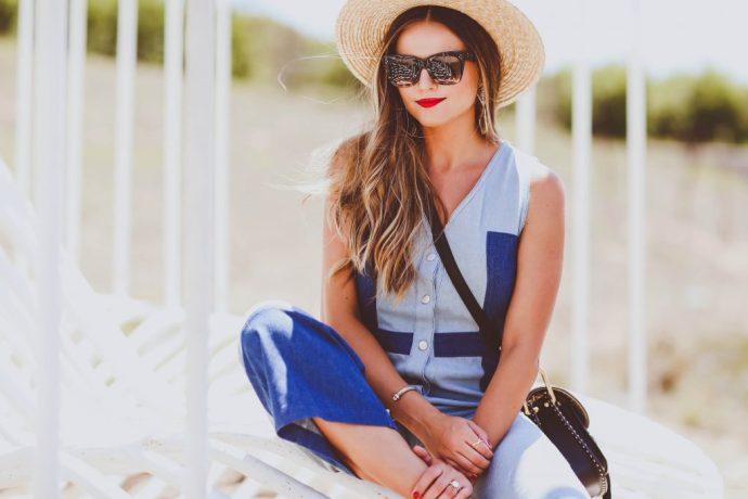 patchwork denim jumpsuit, buru white label, straw boater hat, celine sunglasses, chloe hudson bag, black strappy heels, summer outfit, chic mom outfit ideas